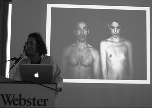 "David Wertheimer, a Webster Geneva communications major, speaks about his photo project on gender equality titled ""Androgen,"" in which he compares the physical qualities imposed by society on both males and females. Wertheimer was one of the presenters at the Swiss campus at the recent media conference on gender equality and women's rights. - Carlos Restrepo"