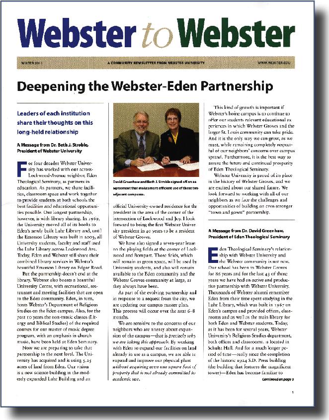 The Webster to Webster newsletter for the Spring semester.