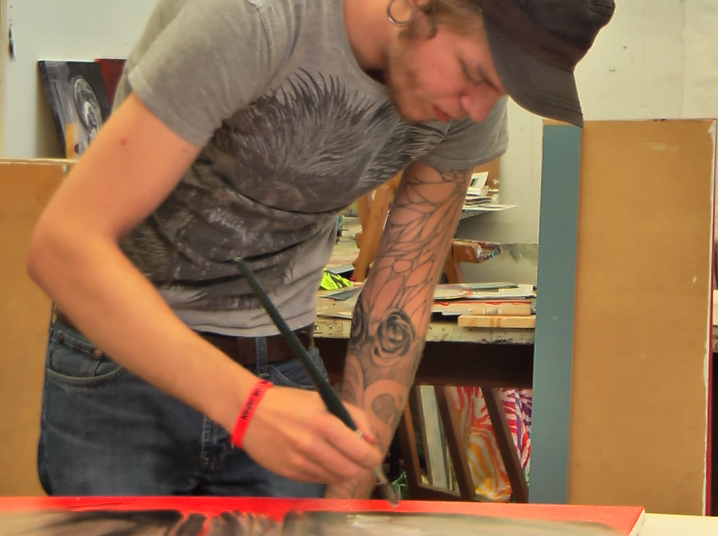 Tom Cline designed his sleeve tattoo himself including the heart on his