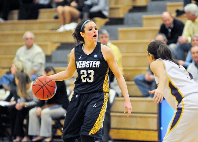 Webster University junior point guard Maggie Zehner dribbles during the game at Fontbonne University. PHOTO BY SEAN SANDEFUR.