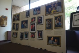 The Loretto-Hilton staff put up a wall featuring interracial couples in the Webster Groves community as part of a lobby decoration for their current production,